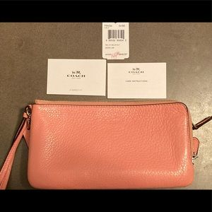 Coach Pink Leather Double ZIP Wallet